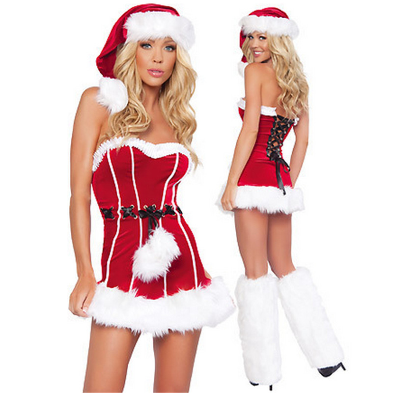 2018 Sexy Fancy Women Red tape Christmas Dress high quality Sweetheart Miss Santa Cosplay Costumes Sexy Womens Christmas Dresses