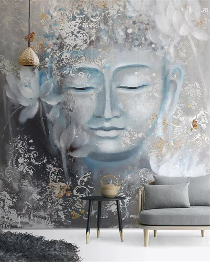 Custom Wallpaper Mural Nostalgic Buddha Porch Home Decoration Painting High-grade Waterproof Material