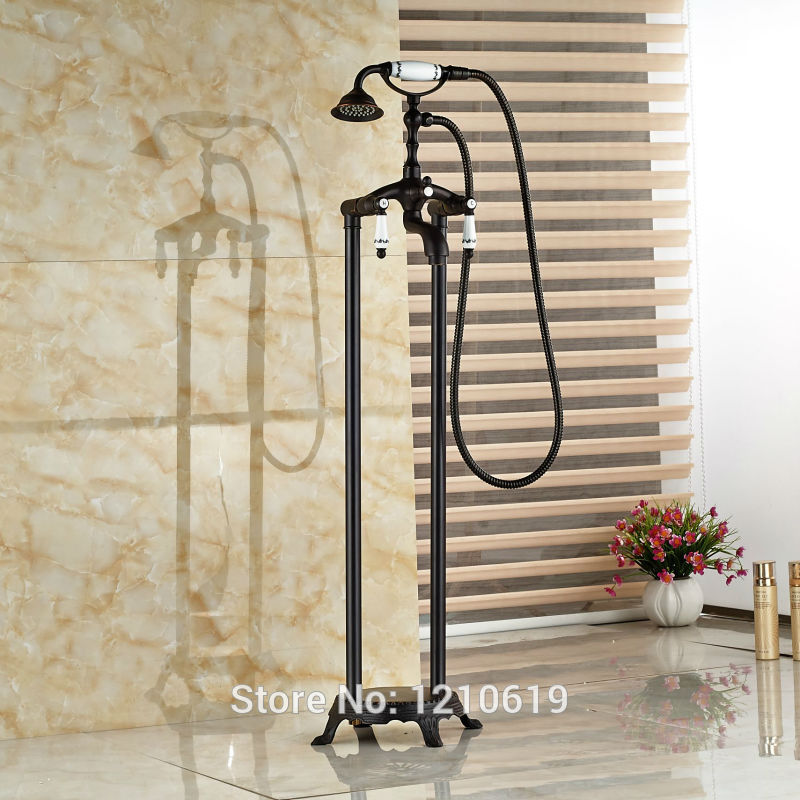 Newly Floor Type Oil-rubbed Bronze Bathtub Faucet w/ Hand Shower Ceramic Style Shower Tub Mixer Faucet Tap