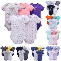 Frete grátis nova menina de algodão e meninos do bebê conjunto bodysuit curto 5 pçs pacote verão bebes roupas conjunto menina e meninos