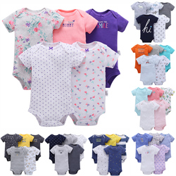 O ENVIO GRATUITO de New Menina e Meninos de Algodão Do Bebê Conjunto Bodysuit Curto Bodysuit 5 pcs Pacote Bebes Verão Roupas Definir Menina e Meninos