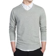 С v-образным вырезом Для мужчин свитер теплая зима Solid Slim Fit Для мужчин свитера хлопковые пуловеры мужской Sweter трикотаж рождественские Chompa черный, красный