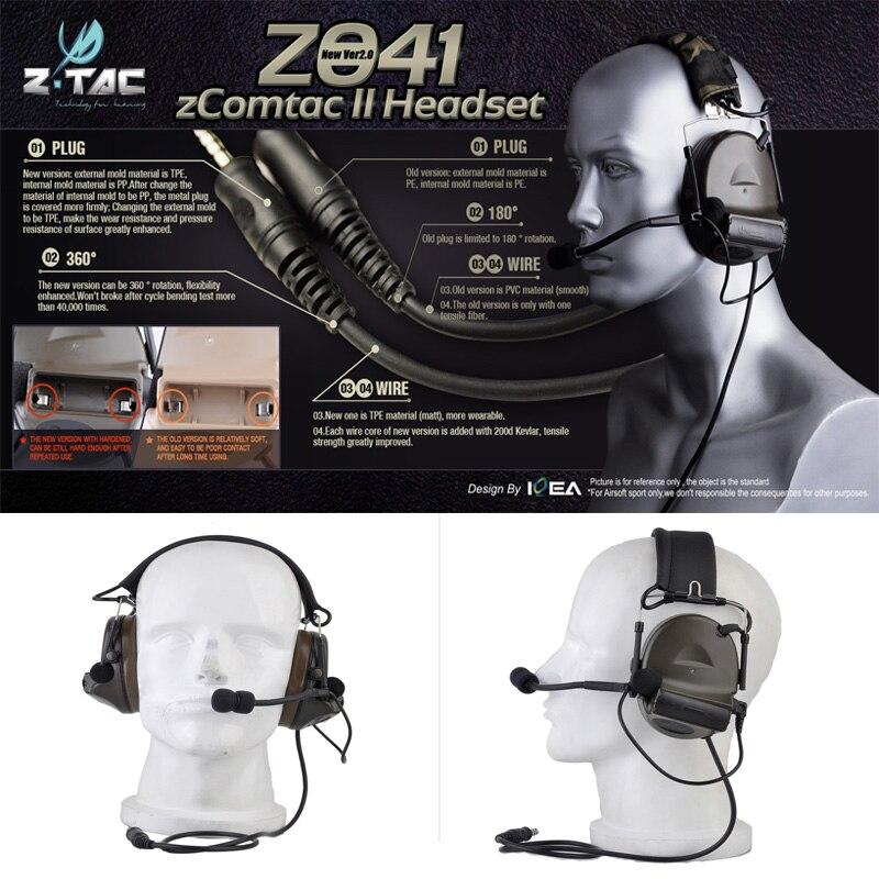 Element Z TAC Airsoft Comtac II Sordin Tactical Headset Style Helmet Noise Canceling Headphone Z 041