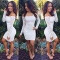 2015 Последние Дизайн Одежды Женщин Весной Белый С Длинным Рукавом С Плеча Тонкий Формальный Кружева Bodycon Mini Dress 35