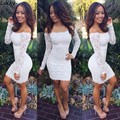 2015 mais recentes modelos de roupas mulheres primavera manga longa branca fora do ombro magro formal lace bodycon mini dress 35