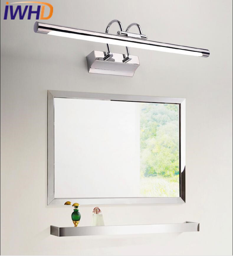 Lámpara de pared moderna con luz para espejo de baño con led, lámpara de pared ajustable de acero inoxidable - 3