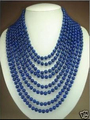 Free shipping@@@@@ T15 8 rows Charming 6mm blue lapis lazuli beads necklace