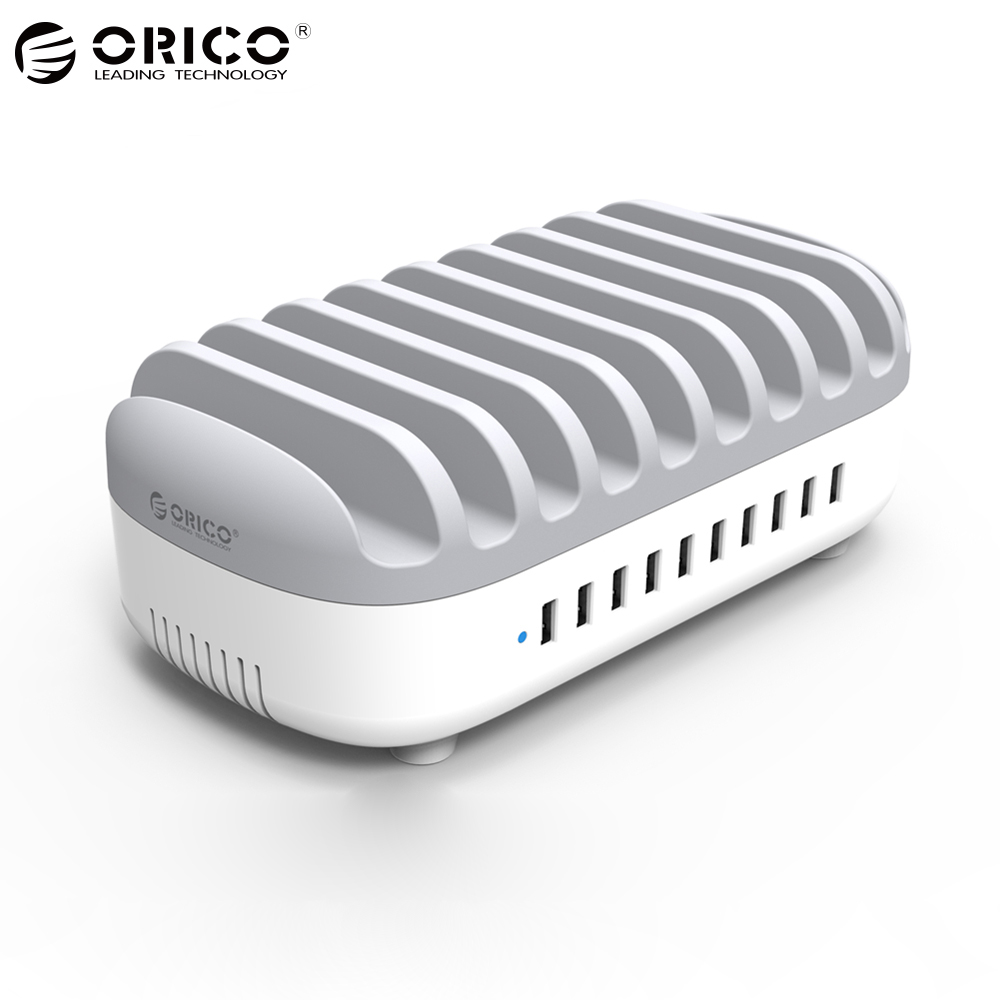 ORICO 10 Poorten USB Charger 120 W 5V2. 4A Smart Professionele Opladen Station Dock met Houder Stand voor Iphone 7 6 s Power Bank