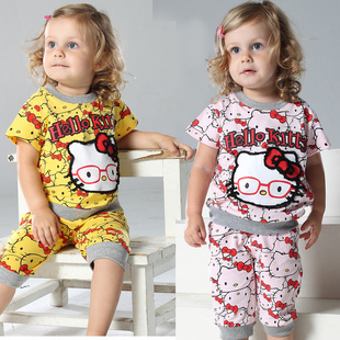 (Only $15.99,Free Shipping)2013 Cotton Short-sleeve Infant Clothes T-shirt Baby Girl's Capris Casual Set Supply