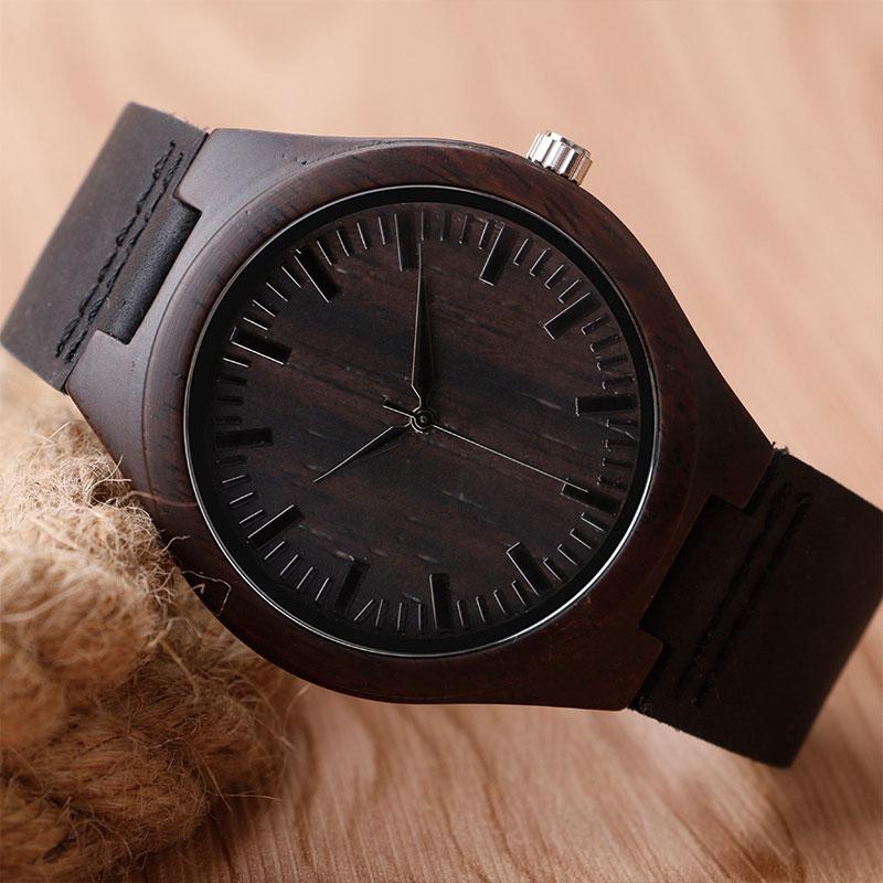 Prix pour Hommes Bois Montre-Bracelet En Cuir Véritable Bande bambou montres Bracelet Minimaliste Sport 100% Nature Bois Relogio Masculino Horloge Cadeau
