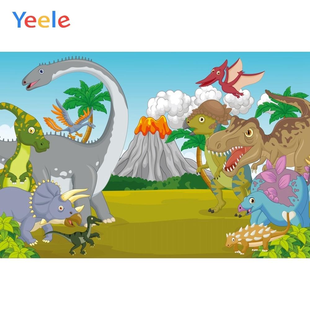Yeele Cartoon Baby Party Animals Backdrops Dinosaur Photography Background Customized Photographic Backdrop For Photo Studio