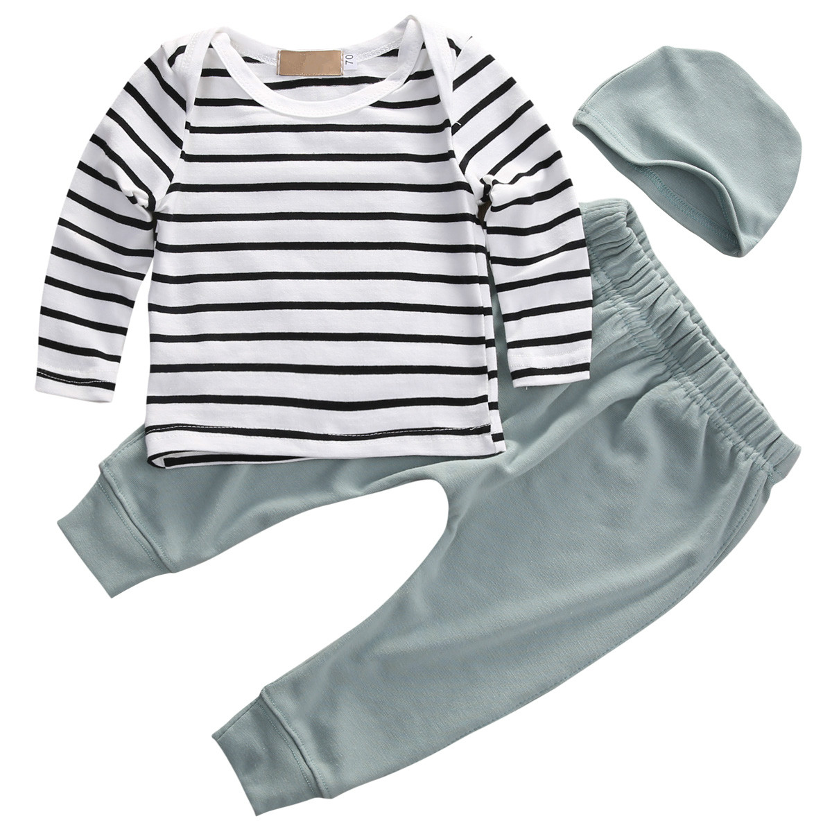 New Fashion Newborn Toddler Kids Baby Boys Girls Outfits Clothes Long Sleeve Striped T-shirt Tops+Pants 3PCS Cute Bbay Kids Set hot sale 2016 kids boys girls summer tops baby t shirts fashion leaf print sleeveless kniting tee baby clothes children t shirt