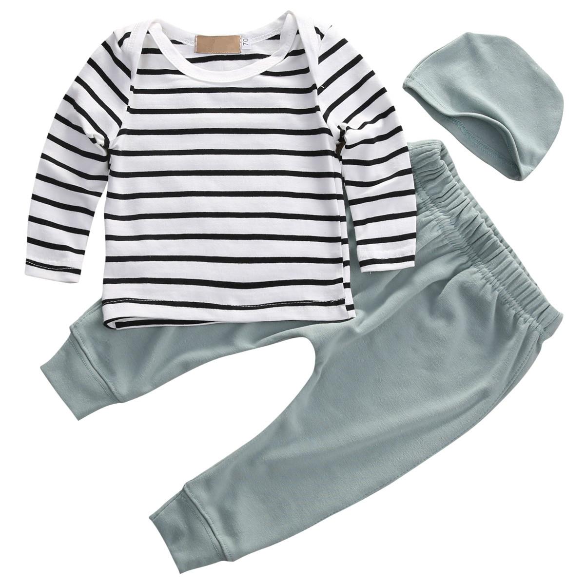 New Fashion Newborn Toddler Kids Baby Boys Girls Outfits Clothes Long Sleeve Striped T-shirt Tops+Pants 3PCS Cute Bbay Kids Set