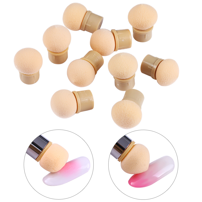5 Pcs Sharp Round Replaceable Sponge Heads Gradient Brush Shade Maker Pen Manicure Nail Art Tool