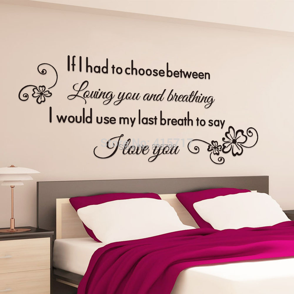 Romantic english proverbs wall stickers home decors for Cheap wall mural posters