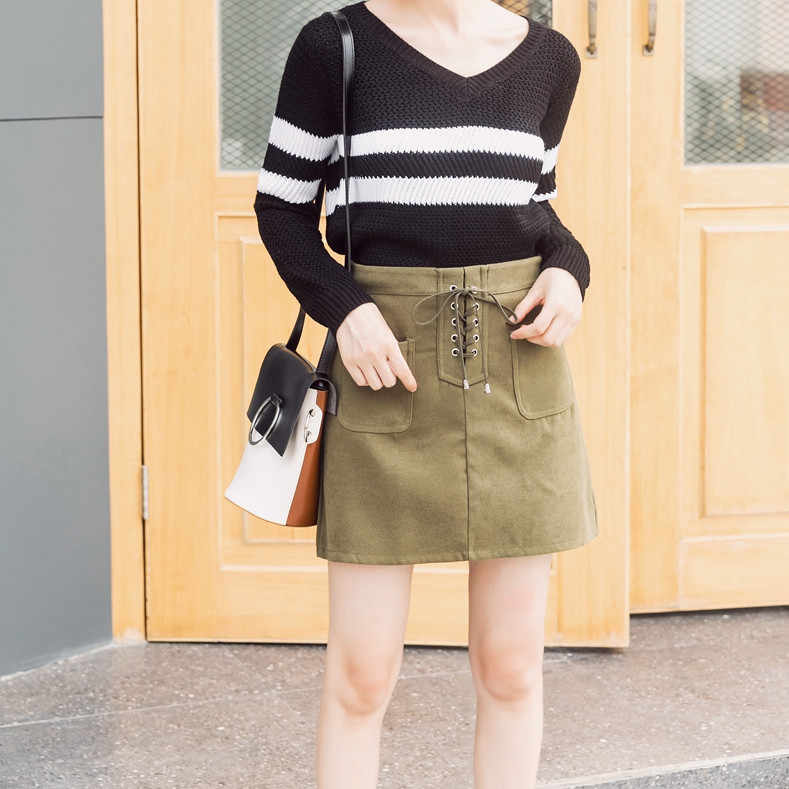 6333ab971c5db Colorfaith New 2018 Spring Summer Women Mini Suede Pencel Skirt Lace-up  Retro Package Hip High Waist A-line Skater Skirt SK8806