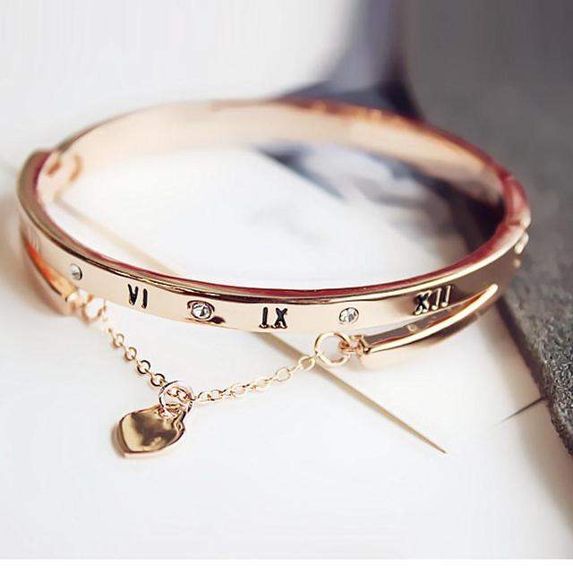 Сталь браслет розовое золото/серебро Женская мода римскими цифрами кисточкой Титан женский сердце Forever Love браслеты Bijoux Best Gif