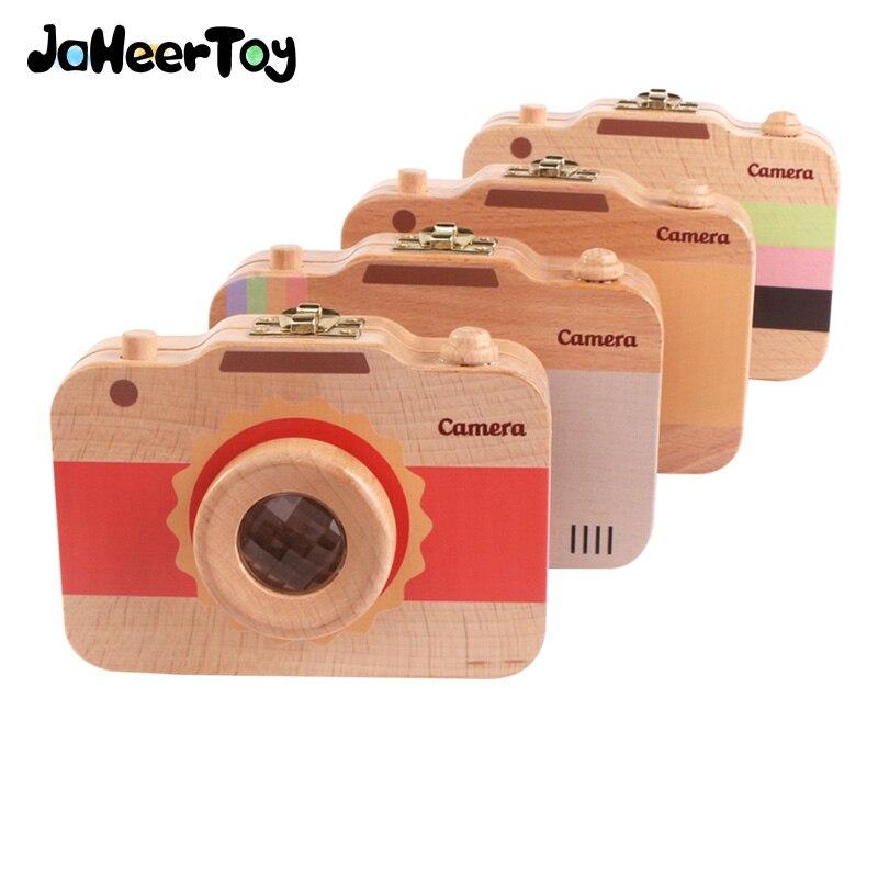 JaheerToy boîte à dents de bébé jouets pour enfants originalité cadeaux caméra conservation des dents à feuilles caduques 3-6 ans bois