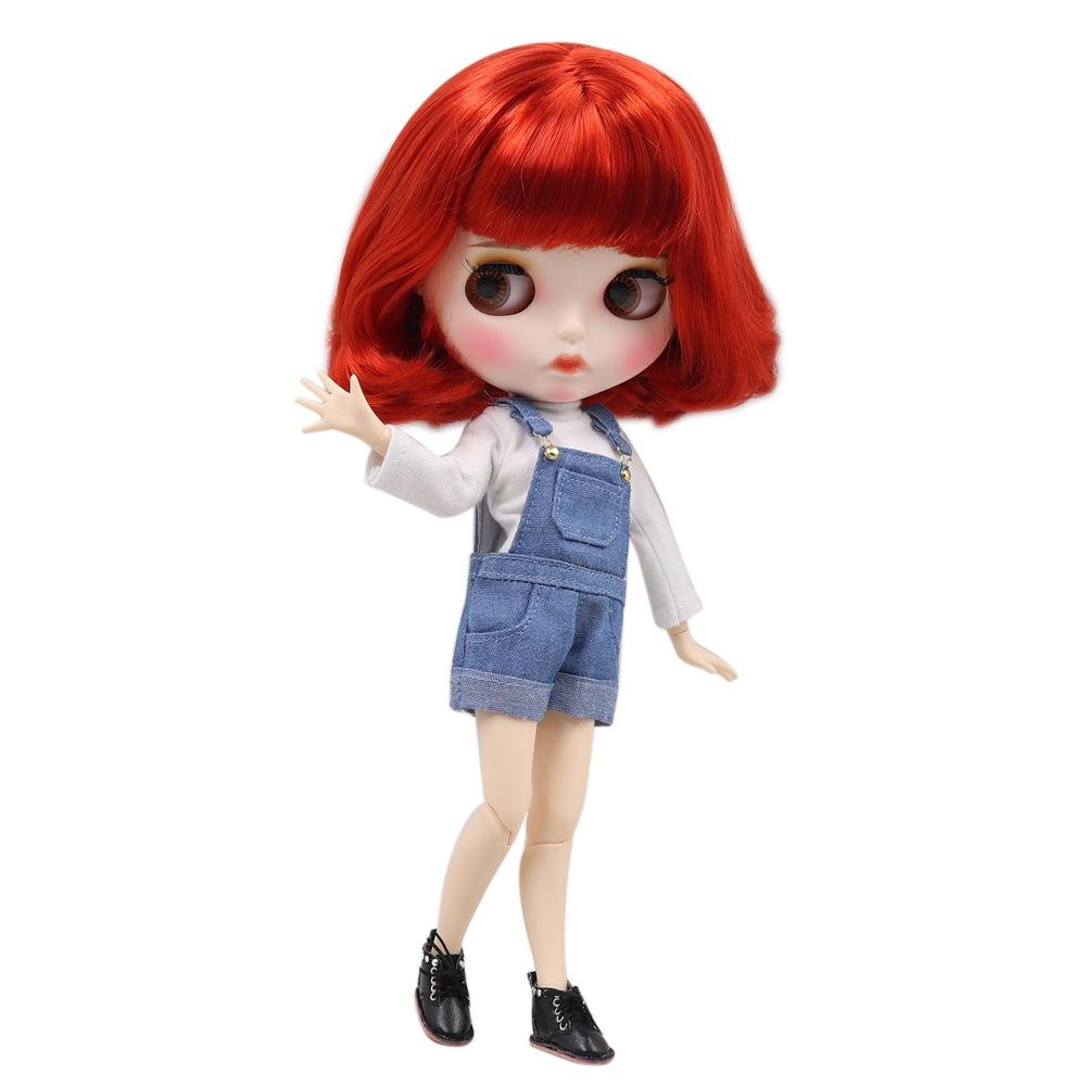 Blyth doll 1/6 bjd biała skóra wspólne ciało słodkie czerwone krótkie kręcone włosy nowy matowy twarz z brwi błyszczyk do ust ICY sd zabawki w Lalki od Zabawki i hobby na  Grupa 1