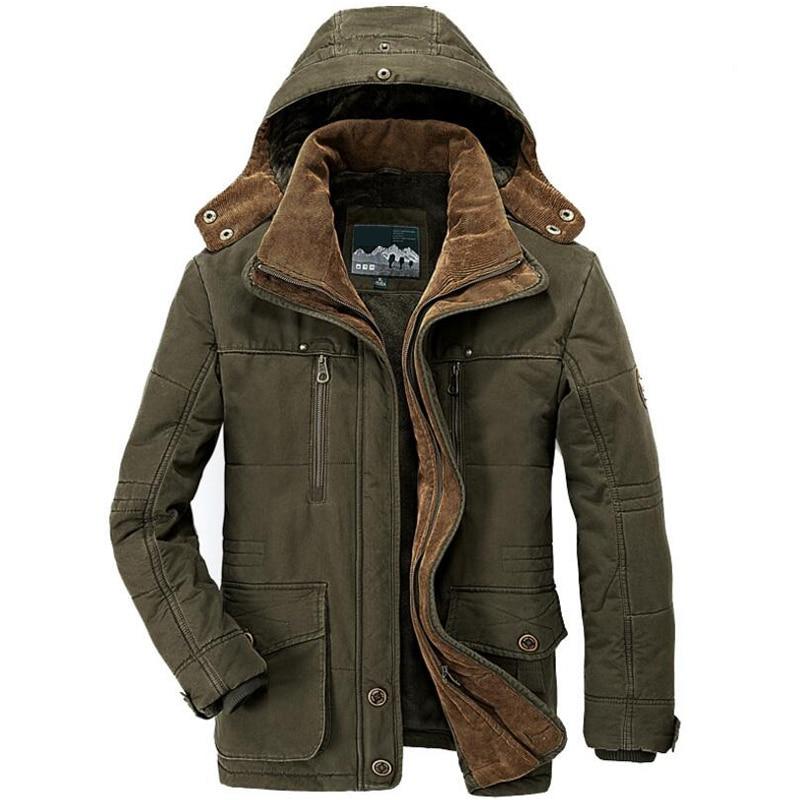 2019 ฤดูหนาวเสื้อแจ็คเก็ตผู้ชาย Parkas เสื้อแจ็คเก็ตทหารชาย 15 องศา Hooded หนา Warm Mens Winter Parkas Big ขนาด 6XL 7XL-ใน เสื้อกันลม จาก เสื้อผ้าผู้ชาย บน   1