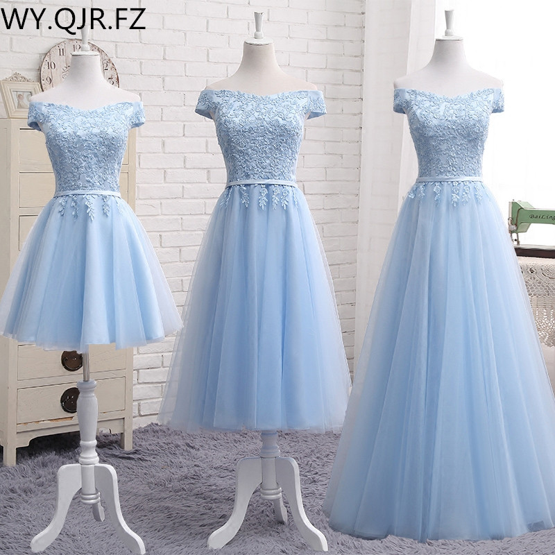 PTH2122#Lace up Off Shoulder Long middle short blue   Bridesmaid     Dresses   2019 new Sister group Custom party prom   dress   toast suit