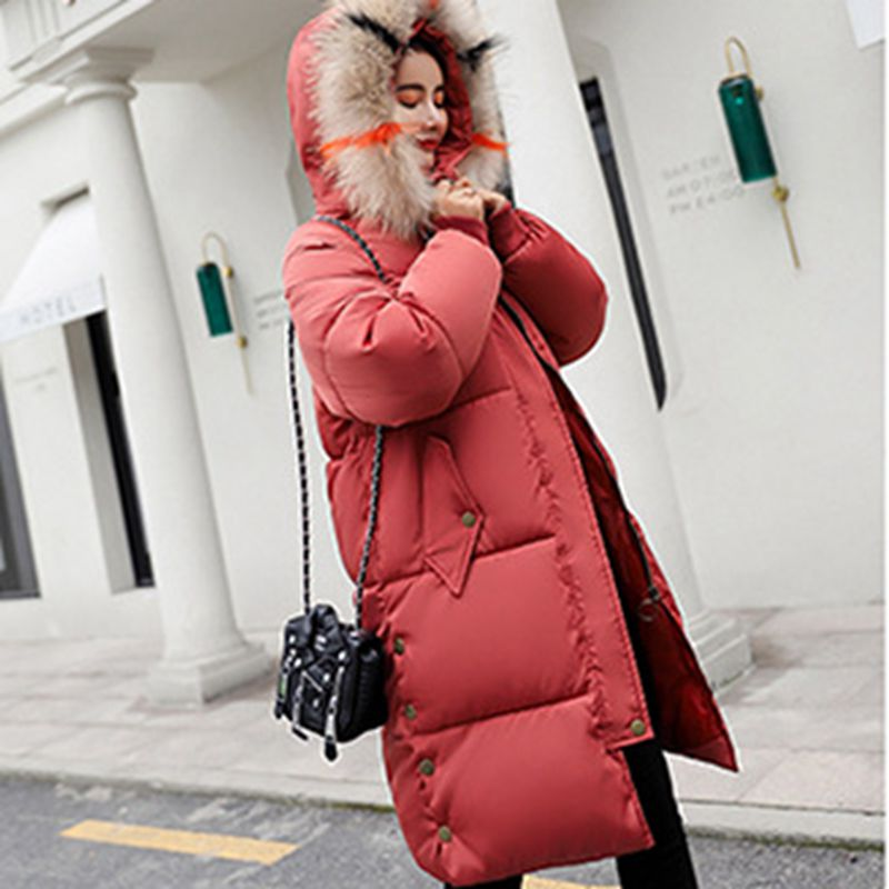 Femelles Mode Col De pink black Parkas Hiver Fourrure Coton red Chaud Coréenne Capuchon gray Moyen À 2018 Veste Dames Ly100 Manteau Long Beige Épaisse Femmes Nouvelles zqvzrn6
