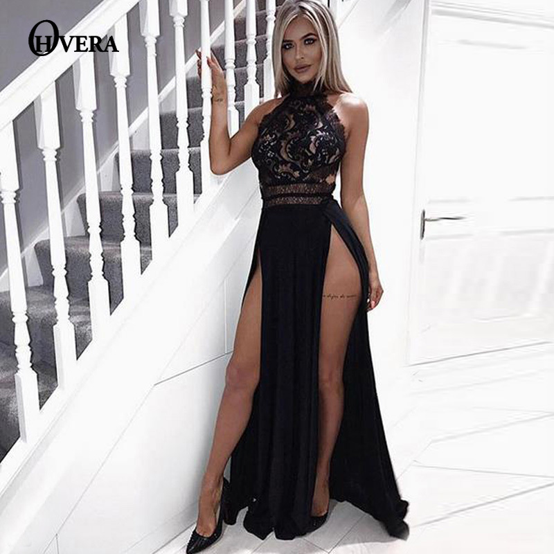 f3d97da98ba80 Ohvera Solid Long Maxi Dress Women Side High Split Sexy Lace Summer Dress  Elegant Backless Night Club Party Dresses Vestidos