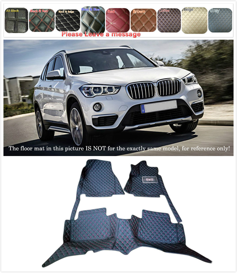 5 Seats 1 Set Customs Car Floor mat Leather Waterproof Front & Rear Floor Mats Carpets Pads for BMW X1 F48 2016 2017 Car styling colts car floor mat set of 2 nfl