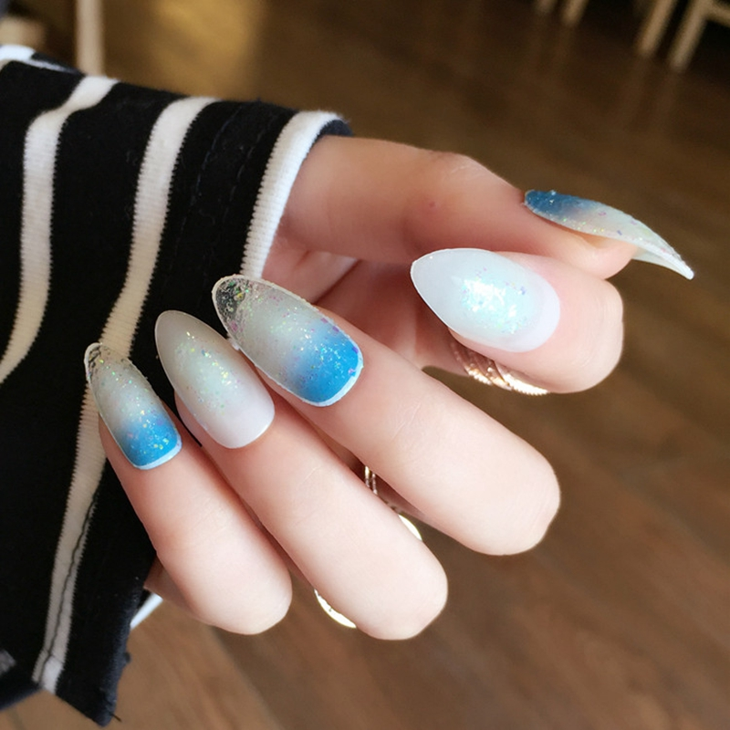 Spirit Blue Gradient False Nails Oval Round Acrylic Clear ...