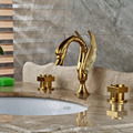 "Wholesale And Retail Widespread 8"" Bathroom Vessel Sink Faucet Animal Swan Golden Brass Mixer Tap NEW"