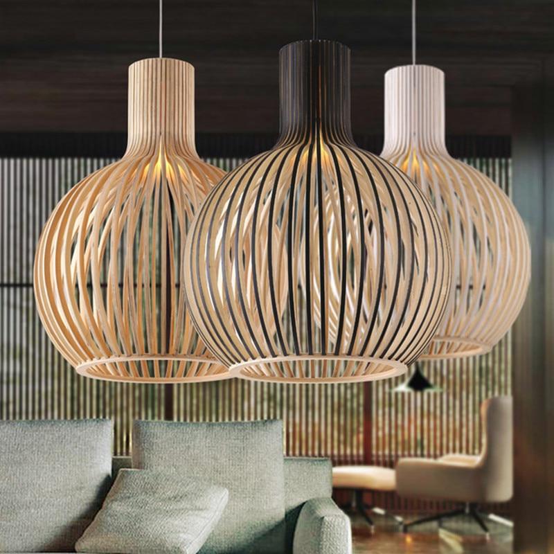 Işıklar ve Aydınlatma'ten Kolye ışıkları'de Modern siyah ahşap kuş kafesi E27 ampul kolye ışık norbic ev deco bambu dokuma ahşap kolye lamba title=