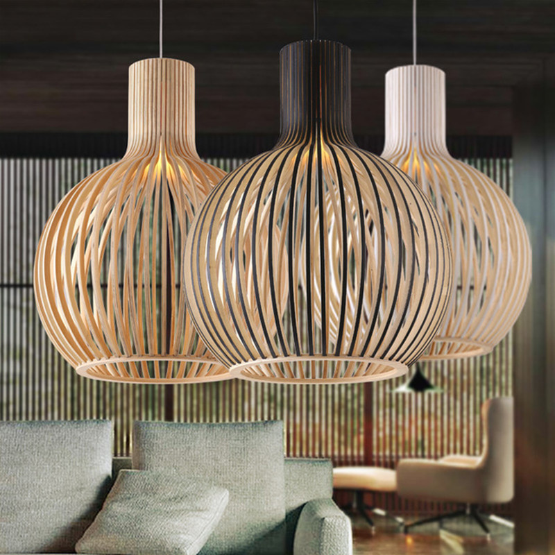 Moderne bois noir Birdcage E27 ampoule pendante lumière norbic maison déco bambou tissage pendentif en bois lampe