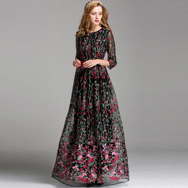 Belt Floor Length Party Empire Dress