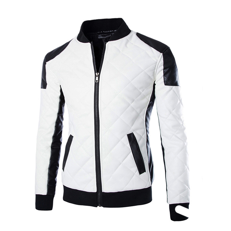 2c1c00f1d US $25.92 30% OFF|Autumn Men's Cotton PU Jackets Black White Patchwork  Leather Jacket Moto Biker Jacket Locomotive Outerwear Male Casual Coat-in  Faux ...