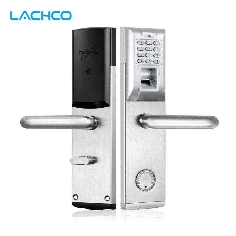 LACHCO serrure biométrique d'empreintes digitales mot de passe clavier électronique serrure de porte avec pêne dormant entrée intelligente sans clé bureau à domicile L18083BS