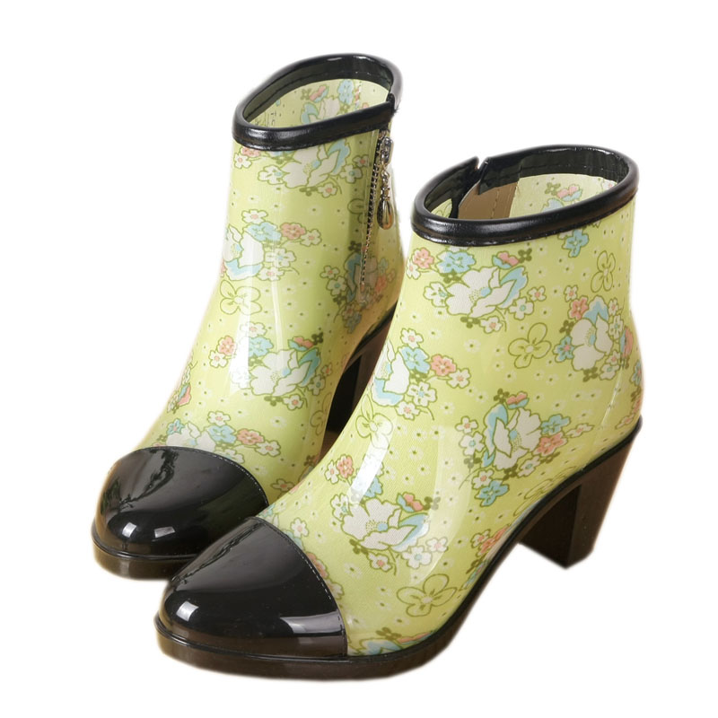 Rouroliu Women PVC High Heels Ankle Rain Boots Side Zipper Floral Short Rainboots Waterproof Water Shoes Wellies ZM83 in Ankle Boots from Shoes
