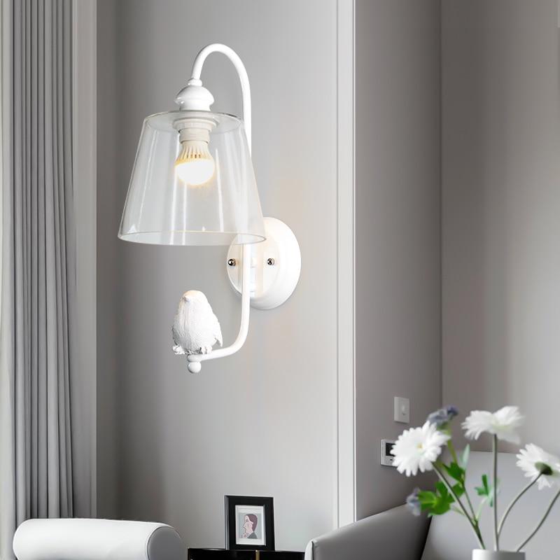 E27 modern simple aisle lamp living room bedroom bedside lamp glass Nordic creative bird wall lamp недорого