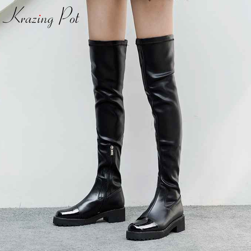 Krazing Pot patent leather fashion thigh high boots patch work 5cm med heels oriental streetwear stretch over-the-knee boots L56 цена 2017