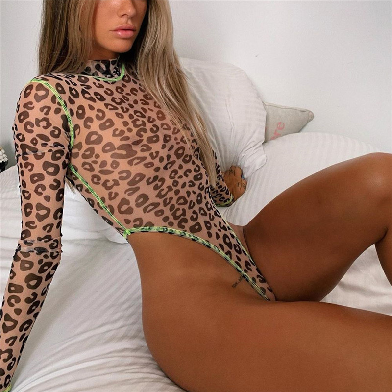 Sexy Women Leopard Printed Bodysuit High Cut Leotard Thong Clubwear Jumpsuit Romper Tops Lady Stretch Bodysuit Tops Blouse Hot