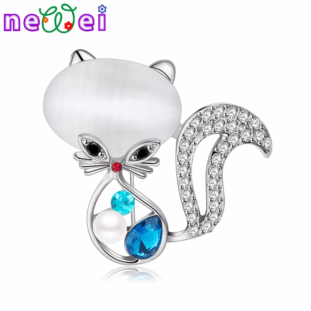 NEWEI Rhinestone Opal Cat Brooches For Women Brooch Pin For Collar Suit Scarf Decoration Kitten Souvenir New Fashion Jewelry