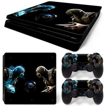 Hot Games Mortal Kombat style Skin Sticker Cover For Playstation 4 Slim PS4 Slim Console Stickers and Decals Of 2 Controllers