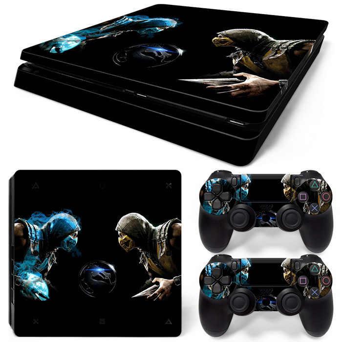 Hot Games Mortal Kombat style peau autocollant couverture pour Playstation 4 Slim PS4 Slim Console autocollants et décalcomanies de 2 contrôleurs