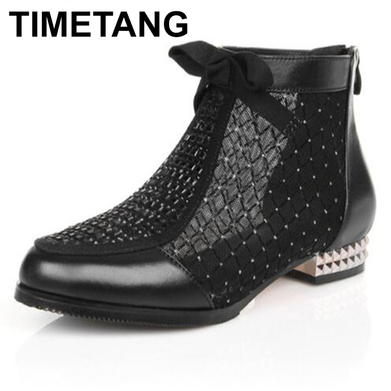 TIMETANG   Brand Boots Cowhide Mesh Summer Shoes Woman Cool Boots Fashion boots 2018 Rhinestones Bow Large Size Women bootsTIMETANG   Brand Boots Cowhide Mesh Summer Shoes Woman Cool Boots Fashion boots 2018 Rhinestones Bow Large Size Women boots