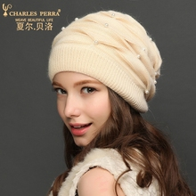 Charles Perra Women Knitted Hats 2017 Autumn Winter Double Layer Thicken Wool Hat Warm Ear Protection Casual Female Beanies 8311 недорго, оригинальная цена