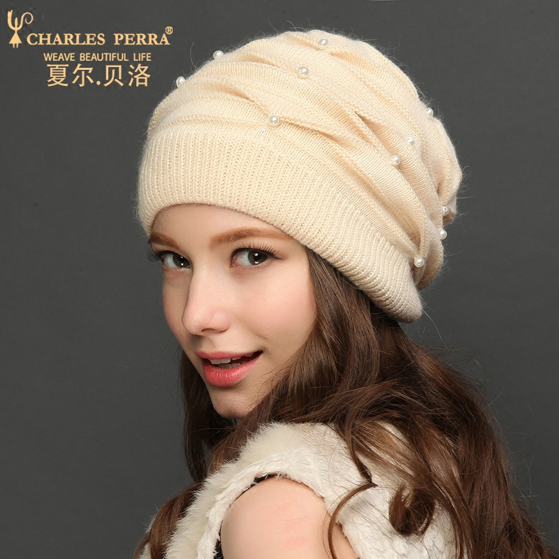 Charles Perra Women Knitted Hats 2019 Autumn Winter Double Layer Thicken Wool Hat Warm Ear Protection Casual Female Beanies 8311