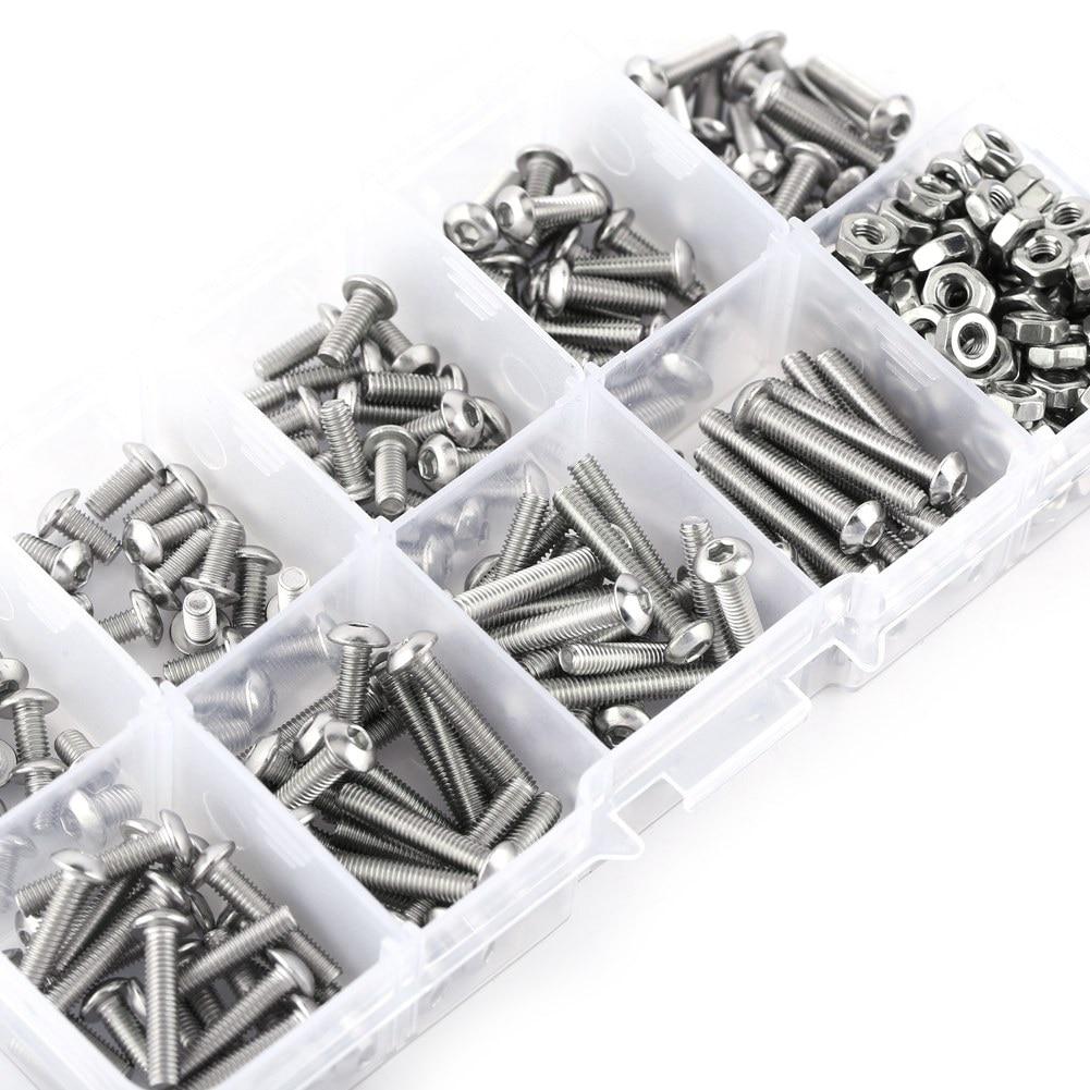 340pcs M3 Stainless SS304 Button Head Hex Nut Assortment Kit Socket Screw Bolt Screws Nuts Assortment Kit Fastener Hardware