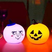 Cartoon creative Halloween LED rechargeable silicone pumpkin wizard lantern colorful night light moon lamp free shipping 9