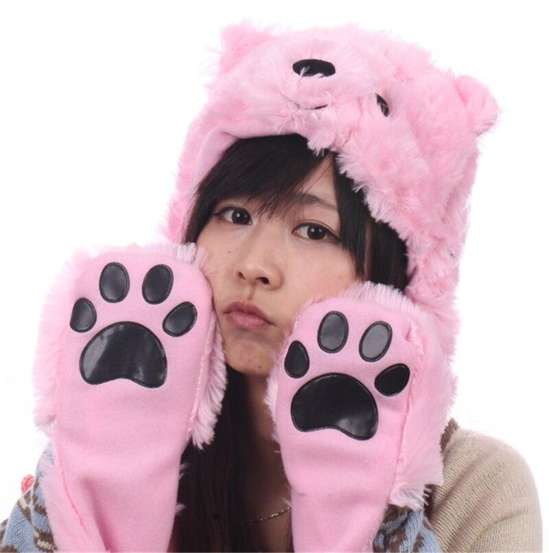 Douchow женские подростковые дети мультфильм животных шляпа милый белый розовый коричневый медведь плюшевые зимние теплые кепки с лапой перчатки для мальчиков и девочек - Цвет: Розовый