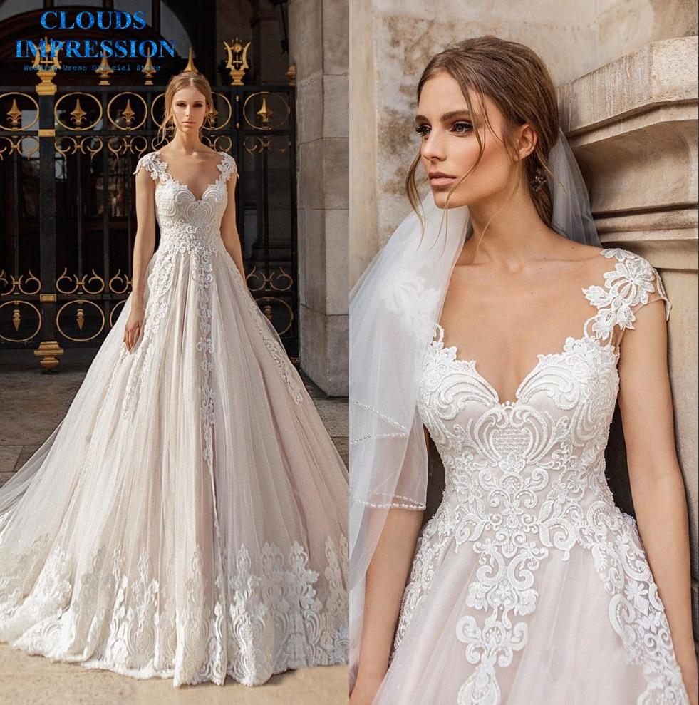Romantic Wedding Dresses 2019: CLOUDS IMPRESSION Romantic 2019 A Line Wedding Dress