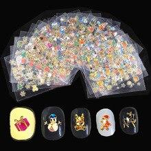 T-TIAO CLUB 24Pcs/lot 3D Christmas Series Design Nail Art Decorations Manciure DIY Nails Sticker For Accessories Adhesives